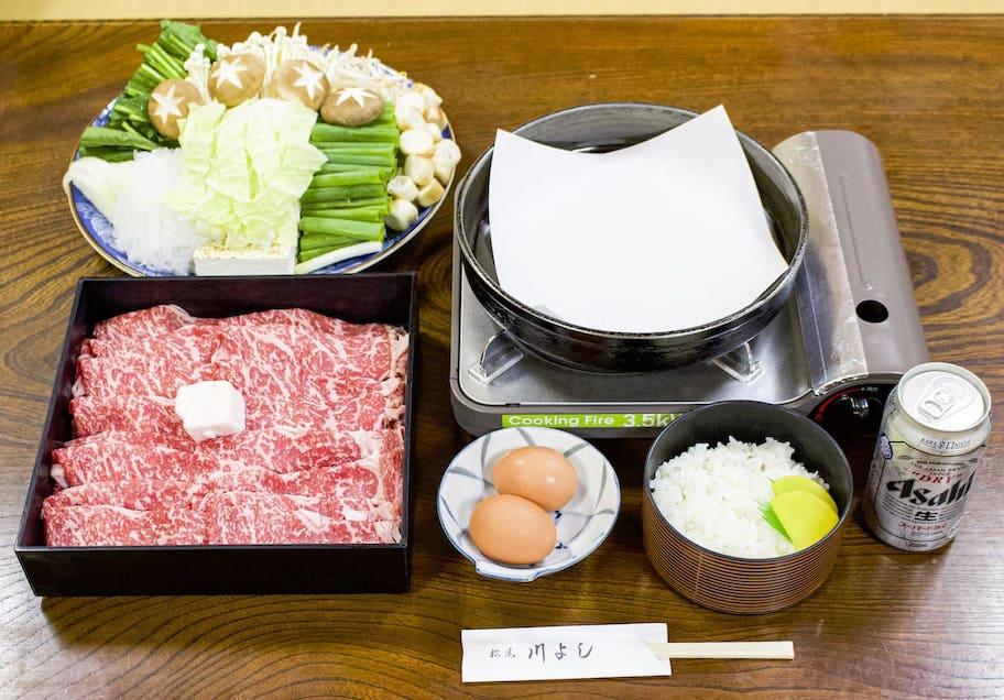 松尾 川よし すき焼き(国産牛)肉、野菜は4人前